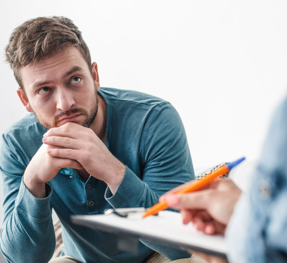 man getting help identifying anxiety
