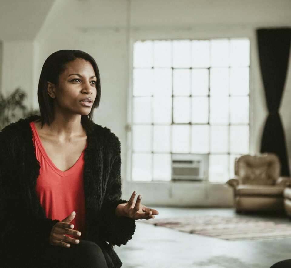 woman talking with psychotherapy specialist
